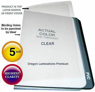 200 Clear Report Covers 5 Mil 8-1/2 x 11 unpunched Plastic Binding Sheets