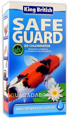 KING BRITISH SAFE GUARD 500ml TAP WATER POND OR AQUARIUM DECHLORINATOR FISH