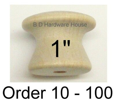 "1"" - Birch Wood Cabinet Knob Pulls / Drawer Knobs - Select Option  10  to 100"