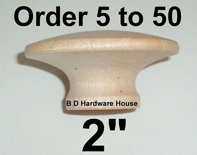 """Large 2"""" Birch Hard Wood Cabinet Pulls / Drawer Knobs - Select Option 5 to 50"""