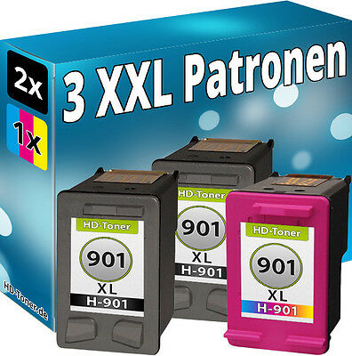 Set 3x REFILL DRUCKER PATRONEN KOMPATIBEL für HP 901 XL BLACK + COLOR
