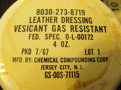 US  Leather Dressing ,Vesicant Gas Resistant 4ozTin1967