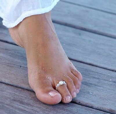 Toe Ring / Pinky Ring ~ Clear AB Crystal & White Pearl Beaded Stretchy handmade