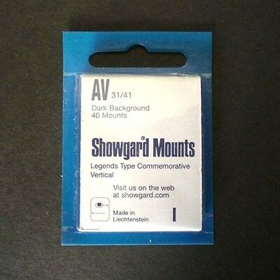 Showgard Stamp Mounts Size AV 31/41 BLACK Background Pack of 40