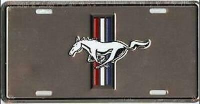 FORD MUSTANG COLOR LOGO SILVER MIRROR LASER LICENSE  PLATE FREE USA  SHIPPING