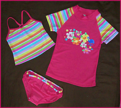 GIRLS 3 Pc RASHI SWIMWEAR Sz 4 5 or 7 TOGS Tankini & Rash Set - NEW Factory 2nds