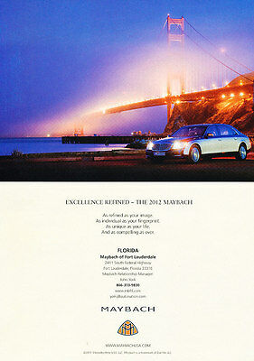 2012 Maybach 57 - Mercedes Golden Gate  -  Classic Vintage Advertisement Ad D08