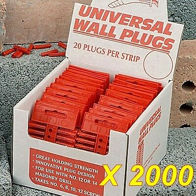2,000 Wall Plugs Red (6mm Drill)