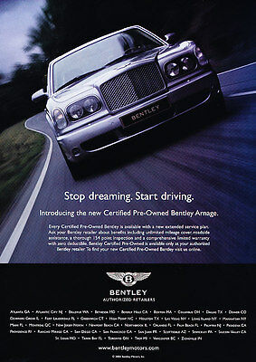 2004 Bentley Arnage - pre-owned intro -  Classic Vintage Advertisement Ad D11