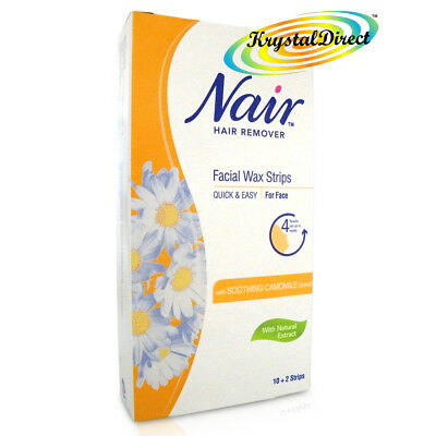 Nair 12 Facial WAX STRIPS Waxing Hair Removal with Camomile Extract - For Face