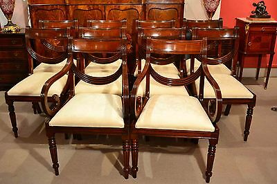 Grand Set 10 Regency Style Dining Chairs Swag Back