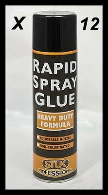 12 PROFESSIONAL HEAVY DUTY RAPID SPRAY GLUE 500ml 24h DELIVERY.
