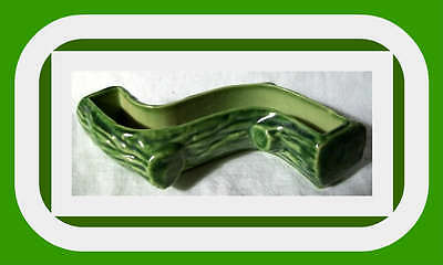 """Wade U.K.~VINTAGE GREEN """"LOG"""" STYLE POSY DISH~excellent condition"""