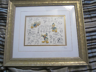 Donald Duck Model Sheet with 3 pins and COA limited edition, framed