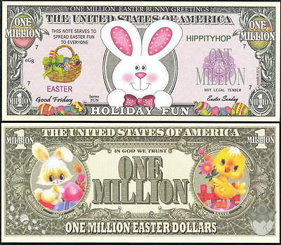 EASTER BUNNY / HOLIDAY FUN MILLION DOLLAR NOVELTY BILL - Lot of 2 BILLS