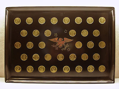 Vintage 35 President's Hand Inlaid Coins Couroc of Monterey Gold Tone Wood Eagle