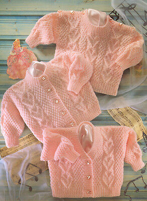 "Heart Panel Textured Baby Cardigans & Sweater DK 16"" - 22"" Knitting Pattern"