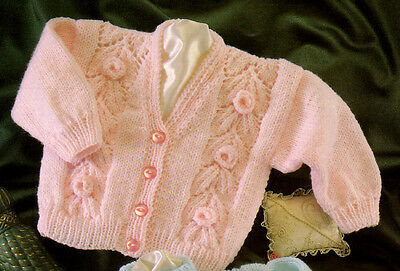 "Pretty  Rose & Flower Panel Baby  Cardigans  DK 14"" - 22"" Knitting Pattern"