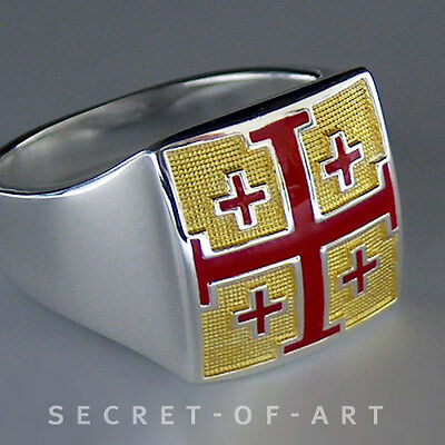 JERUSALEM CROSS CRUSADERS SILVER 925 STERLING RING with 24K GOLD-PLATED PARTS