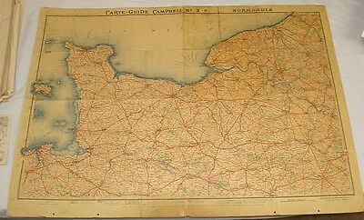 Large Early Map/CARTE-GUIDE CAMPBELL No. 3, NORMANDIE/Automobile Club of FRANCE