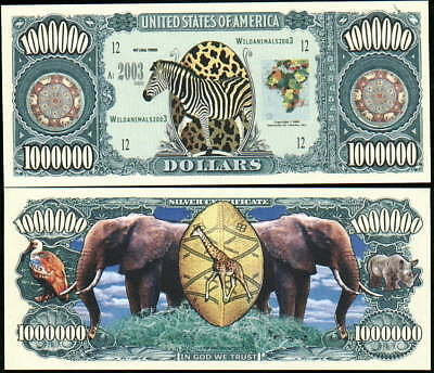 Lot of 100 SAFARI ANIMAL BILLS -ZEBRA, ELEPHANT GIRAFFE
