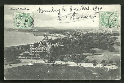 Bombay BBCI Railway Offices Queen's Road India 2 stamps 1910