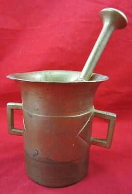 Antique Large Solid BRASS MORTAR & PESTLE 19th Century Medicine Apothecary Mix