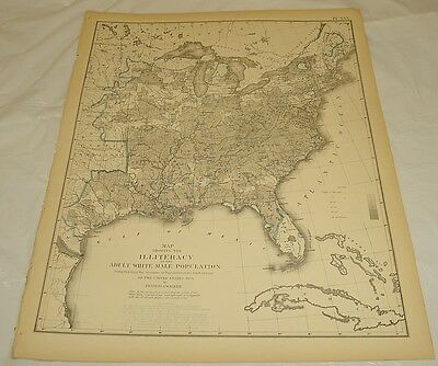 1874 Antique Map of ILLITERACY IN THE USA//1870 Census