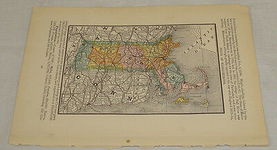 1884 Antique Color Map of STATE OF MASSACHUSETTS/Rand McNally Dollar Atlas