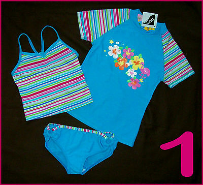 3 Pc RASHI SWIMWEAR Sz 4 5 6 or 8 GIRLS TOGS Tankini Set & Rash - Factory 2nd