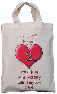 Personalised - 2Nd Wedding Anniversary To My Wife - Natural Cotton Gift Bag