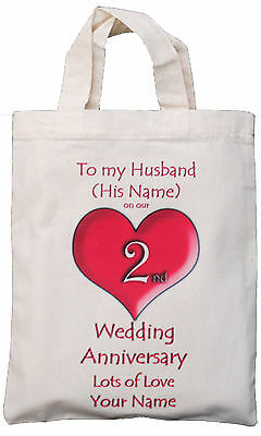Personalised - 2Nd Wedding Anniversary To My Husband - Natural Cotton Gift Bag