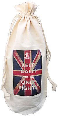 KEEP CALM YOU'RE ONLY EIGHTY - COTTON WINE BOTTLE BAG - 80th Birthday Gift