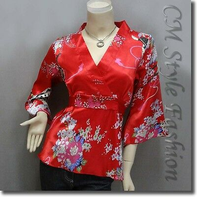 Japanese Kimono Silky Satin Blouse Top Red S/M/L/XL/2XL/3XL