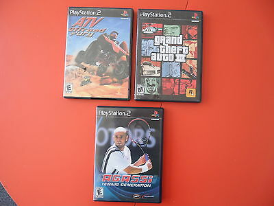 Play Station 2 Lot: GRAND THEFT AUTO III, AGASSI TENNIS GENERATION, ATV OFFROAD