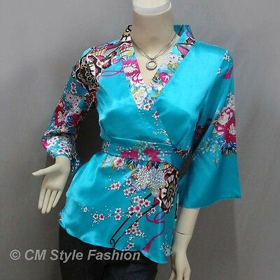 Japanese Kimono Silky Satin Blouse Top Blue S/M/L/XL/2XL/3XL