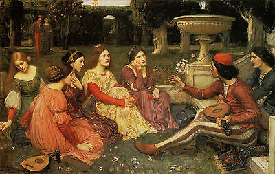 John William Waterhouse :: Tales From The Decameron :: 24 Inch Canvas Art Print
