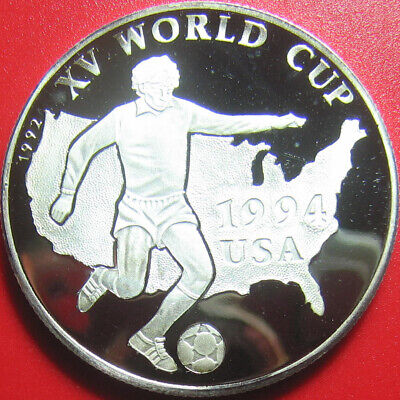 1992 AFGHANISTAN 500 AFGHANIS SILVER PROOF WORLD CUP SOCCER 1994 USA MAP 38mm