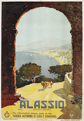 TW20 Vintage Italy Alassio Italian Western Riviera Travel Poster Re-print A2/A3
