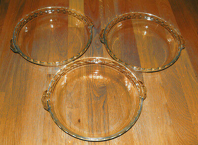 NEW LOT 3 PYREX 229-17 Glass Clear Pie Plates 9.5 inch diameter, 1.5 in deep