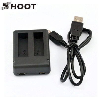 SHOOT AHDBT-401 Battery Dual Charger USB&Micro USB Port + Cable for GoPro Hero 4
