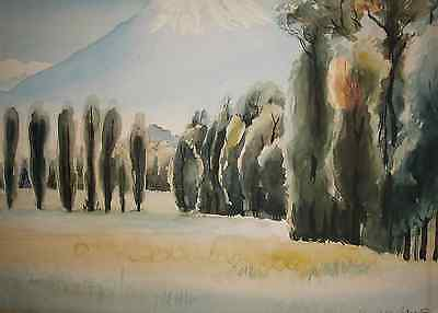 Cypress Trees with Mountain Landscape Antique Original Watercolor, Signed