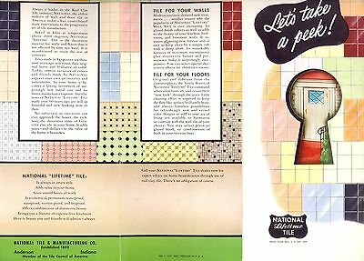 NATIONAL LIFETIME REAL CLAY TILE Kitchen Bathroom Floors 1953 Fold Out Brochure
