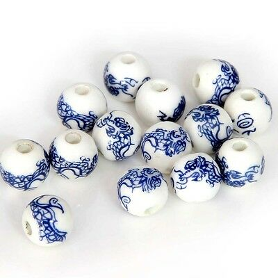 15Pcs Ceramics Porcelain Lucky Chinese Zodiac Dragon Beads Finding--10mm