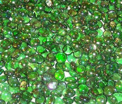 50 Green Iridescent  Mini Glass Gems Mosaic Tiles Floral Vase Fillers