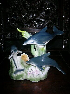 Dolphins, 3 Adorable Dolphins Swim Gracefully Through Sea Life, Porcelain Statue