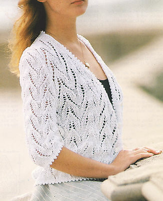 """Lace Cardigan with Knitted Picot Edging Cotton DK 34""""-36"""" Knitting Pattern"""