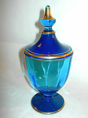 ~ Gorgeous Old Fostoria Glass Dark Blue And Gold Lidded Candy Dish Nice~