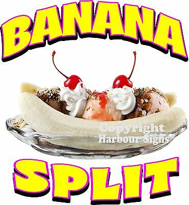 """Banana Split Decal 10"""" Ice Cream Soft Serve Concession Food Truck Cart Stand"""