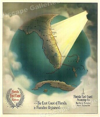 1889 East Coast of Florida is Paradise Regained! Old Railway Map - 24x28